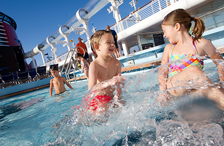 Canada and New England Disney cruise pool with kids playing